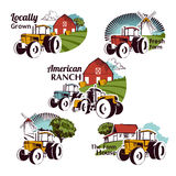 Set of vector retro farm fresh emblems Royalty Free Stock Image