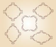 Set vector retro frames .Vector illustration. Brown on beige Stock Photos