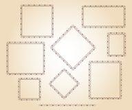 Set vector retro frames .Vector illustration.Brown beige. Set vector retro frames .Vector illustration.Brown on beige Stock Image