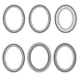 Set of vector retro oval frame. Royalty Free Stock Photo