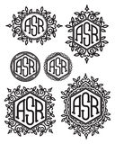 Set vector retro patterns monograms with Floral elements Royalty Free Stock Photo