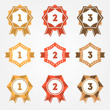Set of vector retro ranking badges Stock Images