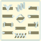 Set of vector retro ribbons, banners and labels Royalty Free Stock Images