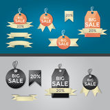 Set of vector retro ribbons labels Stock Images