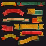 Set of vector retro ribbons, old dirty paper Stock Photography