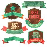 Set of vector retro ribbons, old dirty paper Royalty Free Stock Images