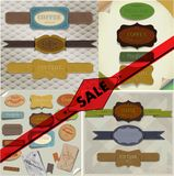 Set of vector retro ribbons, old dirty paper Royalty Free Stock Photo