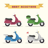 Set of vector retro scooters Stock Photos