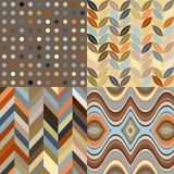 Set of Vector Retro Seamless Abstract Wavy Backgro Royalty Free Stock Images