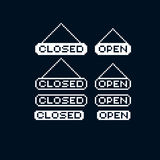 Set of vector retro signs made in pixel art style, closed and op Stock Image