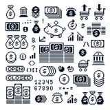 Set of vector retro signs made in pixel art style. Economics and. Investment theme geometric pixilated symbols Royalty Free Stock Photos