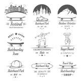 Set Vector Retro Skateboarding Logo and Badge Royalty Free Stock Photos