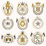Set of vector retro vintage insignias created with design elemen Royalty Free Stock Photos
