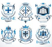 Set of vector retro vintage insignias created with design elemen Stock Photos