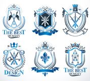 Set of vector retro vintage insignias created with design elemen Stock Image