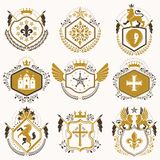 Set of vector retro vintage insignias created with design elemen. Ts like medieval castles, armory, wild animals, imperial crowns. Collection of coat of arms Royalty Free Stock Photo