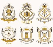 Set of vector retro vintage insignias created with design elemen. Ts like medieval castles, armory, wild animals, imperial crowns. Collection of coat of arms Stock Photography