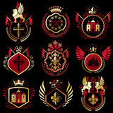 Set of vector retro vintage insignias created with design elemen Royalty Free Stock Image