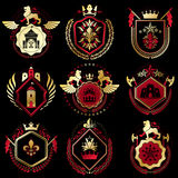 Set of vector retro vintage insignias created with design elemen Royalty Free Stock Photo