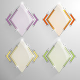 Set vector rhombus banner with varicolored line. Royalty Free Stock Photo