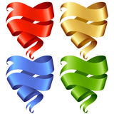 Set of vector Ribbon banner in the shape of heart Stock Photos