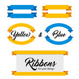 Set of vector ribbons and banners. Flat style. Blue and yellow colors. vector illustration