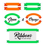 Set of vector ribbons and banners. Flat style. Royalty Free Stock Photography