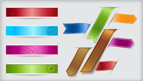 Set of  ribbons and banners with paper cuts and sh Royalty Free Stock Images