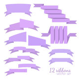 Set of 12 vector ribbons. Flat style Royalty Free Stock Image