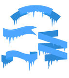 Set of vector ribbons with icicles Stock Photography