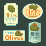 Set of vector ripe Olives badges. Stock Images