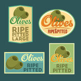 Set of vector ripe pitted Olives badges. Stock Image