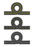 Set of vector roads with loop Stock Photo