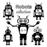 Set of vector robots in cartoon style. stock image