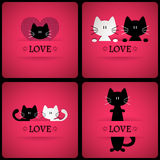 Set of vector romantic cards with two cute cats Royalty Free Stock Photo