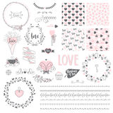 Set with vector romantic elements. Collection with hand drawn vector elements on romantic theme. Frames, wreaths, brushes, lettering, 4 seamless patterns and Stock Photo