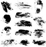 Set of vector rough imprints smears black paint on a white 1 Stock Image