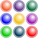 Set of vector round buttons violet, green, yellow, blue, red, lilac, orange. Royalty Free Stock Images