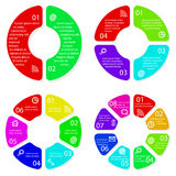 Set of vector round infographic diagrams Stock Images