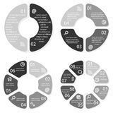 Set of vector round infographic diagrams. Circular charts with 2, 4, 6, 8 options. EPS10 workflow layouts Royalty Free Stock Photo