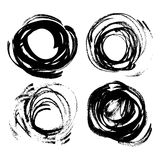 Set of vector round texture thick strokes black paint Royalty Free Stock Images