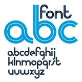 Set of vector rounded lower case English alphabet letters with white stripes, best for use in corporate logotype. Design vector illustration