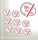 Set of vector rounded sale stickers, labels, tags in black and red colors vector illustration