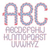 Set of vector rounded upper case alphabet letters isolated created using elegant flowing. Lines stock illustration