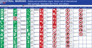 Set of vector safety signs prohibition signs buildings applications. ISO 7010 standard vector safety symbols. Vector graphic safet. Y symbols signs marks Vector Illustration