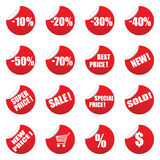 Set of vector sale tag stickets. Red set of vector sale tag stickets isolated on white Stock Images