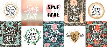 Set of vector save the date lettering posters, greeting cards Royalty Free Stock Image