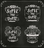 Set of vector Save The Date Wedding invitation Card On Blackboar Royalty Free Stock Image