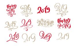 Set of vector scandinavian Calligraphic Lettering Christmas text 2019 design card template. Creative typography for royalty free illustration
