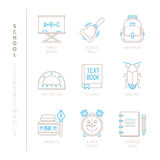 Set of vector school icons and concepts in mono thin line style Royalty Free Stock Photos